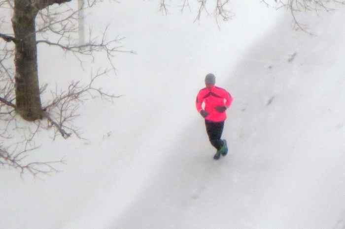 runner in snow
